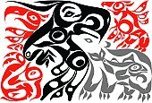 Art,North American Tribal Culture,Totem Pole,Indigenous Culture,Haida,Inuit,Bear,Painted Image,Design,Eagle - Bird,Vector,American Tribal Culture,Inuit Culture,Animal,Symbol,Abstract,Nature,Bird,Black And White,Ilustration,South Island New Zealand