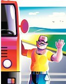 Driver,Truck,Truck Driver,Semi-Truck,Cabin,Tractor,Bus,Men,Vehicle Trailer,Occupation,Freight Transportation,Road,Van - Vehicle,Red,Heavy,Land Vehicle,Street,Mode of Transport,Uniform,Transportation,Industry,Professional Occupation,Illustrations And Vector Art,hauler,Vector Cartoons,Trucking,Vector,Retail/Service Industry,Highway,Diesel,Transportation,Orange Color,Manual Worker