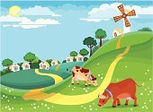 Village,Farm,Cow,Landscape,Vector,Non-Urban Scene,Rural Scene,Windmill,Road,Hill,House,Forest,Backgrounds,Pasture,Traditional Windmill,Grazing,Tree,Field,Beauty In Nature,Country Road,Ilustration,Springtime,Summer,Sun,Multi Colored,Green Color,Colors,Grass,Cloudscape,Nature,Day,Weather,Sky,Meadow,Human Fertility,Outdoors,Flower,Blue,Bright,Industry,Animals And Pets,Bush,Nature,Season,Landscapes,Agriculture,Domestic Cattle,Greeting Card,Freshness,Farm Animals,Environmental Conservation