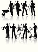Silhouette,Manual Worker,Construction Industry,Craftsperson,Construction Worker,Occupation,Repairman,Working,People,Building Contractor,Carpenter,Work Tool,Electrician,Repairing,Industry,Ladder,Equipment,Uniform,Industry,Construction,People,Illustrations And Vector Art