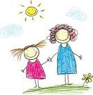 Friendship,Mother,Child,Sketch,Family,Little Girls,Cartoon,Vector,Women,Offspring,People,Love,Flower,Cheerful,Happiness,Parent,Single Flower,Fun,Preschooler,Life,Ilustration,Summer,Sun,Unity,Grass,Childhood,Group Of People,Togetherness,Smiling,Outdoors,Lifestyles
