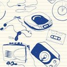 Audio Cassette,Music,Headphones,Sketch,Disk,Pencil,Powder Compact,Doodle,Pen,CD,Digitally Generated Image,Drawing - Art Product,Sound,Backgrounds,Pattern,Audio Equipment,Seamless,Blue,Playing,Vector,White,Note Pad,Paper,Ink,Vector Backgrounds,Household Objects/Equipment,Objects/Equipment,Fun,Funky,Speaker,Illustrations And Vector Art