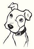 Dog,Puppy,Cartoon,Cute,Vector,Ilustration,Sketch,Drawing - Art Product,Animal Head,Curiosity,Sitting,Line Art,Pet Collar,Listening,Pets,Thinking,Pencil Drawing,Canine,Vector Cartoons,Dogs,Illustrations And Vector Art,Animals And Pets
