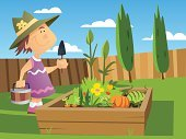 Gardening,Vegetable,Cartoon,Child,Ilustration,Tree,Planting,Growth,Dirt,Vector,Plant,Women,Cultivated,Crop,Little Girls,Shovel,Environment,Agriculture,Sowing,Nature,Environmental Conservation,Seedling,Success,Hat,Fence,Bucket,Fragility,Freshness,Outdoors,Achievement,Front or Back Yard,Leaf,Hobbies