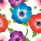 Flower,Floral Pattern,Seamless,Pattern,Anemone Flower,Textile,Vector,Backgrounds,Wallpaper Pattern,Wrapping Paper,Leaf,Blossom,Flower Head,Summer,Japanese Anemone,Windflower,White Background,Ilustration,Nature,Decoration,Environment,Elegance,Repetition,Fabric Swatch