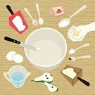 Domestic Kitchen,Spoon,Cooking,Food,Ingredient,Bakery,Flour,Yeast,Measuring Cup,Bowl,Ilustration,Cooking Utensil,Teaspoon,tablespoon,Design Element,Hands Cupped,Dough,Serving Scoop,Table,Human Hand,Eggs,Biscuit,Table Knife,Housework,Vector,Handful,Pear,Food Backgrounds,wood texture,Vector Backgrounds,Copy Space,Food And Drink,Baking,Home Baking,Kneading,Hobbies,Illustrations And Vector Art,Sweet Food