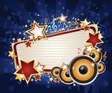 Musical Note,Music,Speaker,Blue,Star Shape,Gold,Gold Colored,Lifestyle Backgrounds,Music,Vector Backgrounds,Arts And Entertainment,Bright,Shiny,Star Burst,Illustrations And Vector Art,Lifestyle