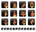 Flaming Torch,Flame,Fire - Natural Phenomenon,Symbol,Computer Icon,Abstract,Heat - Temperature,Icon Set,Vector,Igniting,Burning,Ilustration,Isolated,Shiny,Design Element,Modern,Bright,Yellow,Vibrant Color,Vector Icons,Illustrations And Vector Art,Red,White Background,Nature,Set,Orange Color