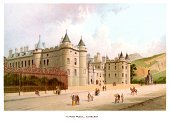 Edinburgh,Print,Holyrood Palace,Palace,Art,Holyrood,Painted Image,Scottish Culture,Victorian Style,Old-fashioned,European Culture,Cultures,Europe,Built Structure,Old,Image Date,Illustration Technique,History,Colors,Urban Scene,Architecture,National Landmark,Color Image,Northern Europe,Scotland,Travel Locations,Man Made,Image Created 19th Century,City,Lithograph,British Culture,19th Century Style,Capital Cities,Antique,Engraved Image,Architecture And Buildings,Ilustration,The Past,Famous Place,UK,Human Settlement,Lothian,Image,Image Type,Illustrations And Vector Art