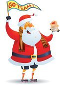 Santa Claus,Christmas,Sport,Eating,Team,Sports Clothing,Holiday,Flag,Teamwork,Sports Team,Waving,Cartoon,Sock,Cheering,Vector,Happiness,Overweight,Smiling,Laughing,Cheerful,Celebration Event,Cold - Termperature,Kneesock,White Background,Season,Team Event,Meat Pie,Isolated On White,Pennant,Positive Emotion,Winter,Ilustration,Celebration,Scarf