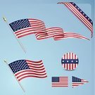 Flag,American Flag,American Culture,USA,Pennant,Ribbon,Vector,Set,Fourth of July,Symbol,Ilustration,Blue,Design Element,Red,White,Computer Icon,Isolated Objects,Illustrations And Vector Art,Sphere,National Flag