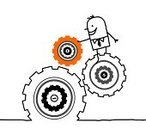 Gear,Solution,Factory,Machinery,Creativity,Work Tool,Working,Characters,Single Line,Ideas,Men,Humor,Drawing - Art Product,Cartoon,Industry,Construction Industry,Businessman,Part Of,Black And White,Concepts,Industry,Vector Cartoons,Concepts And Ideas,Illustrations And Vector Art