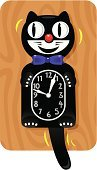 Clock,Domestic Cat,Human Face,Time,Animal Eye,Cartoon,Tail,Black Color,Number,Motion,Smiling,Happiness,Cheerful,Animals And Pets,Isolated Objects,Time,Cats,Concepts And Ideas,Bow,Ilustration,Minute Hand,White,Feline,Vector