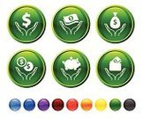 Savings,Currency,Symbol,Human Hand,Finance,Computer Icon,Piggy Bank,Dollar,Icon Set,Dollar Sign,Wallet,Coin,Circle,Holding,Money Bag,Orange Color,Interface Icons,Green Color,Black Color,Empty,Red,Digitally Generated Image,Currency Symbol,Ilustration,Isolated On White,Design,Sparse,No People,Modern,White Background,Blue,Picking Up,Round Button,Vector,Yellow