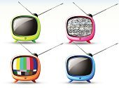 Television Set,Retro Revival,Funky,Symbol,Cartoon,Cute,Design,Color Image,Computer Icon,Cool,Vector,Obsolete,Fun,Old-fashioned,Design Element,Plastic,Set,Style,Shape,Ilustration,Art,Concepts And Ideas,Arts And Entertainment,Part Of,Isolated Objects,Nostalgia,Vibrant Color,Bright,Shiny