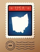 Ohio,state,Postage Stamp,Map,Cartography,Outline,Ilustration,Vector,Patriotism,Postmark,Mail,North America,Illustrations And Vector Art,red white blue,USA,Blue,Red