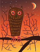 Owl,Forest,Spooky,Wisdom,Bird,Halloween,Night,Halloween,Birds,Holidays And Celebrations,Illustrations And Vector Art,Animals And Pets,Intelligence