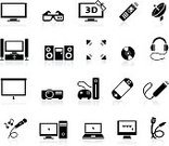 Symbol,Television Set,Computer Icon,Electrical Equipment,Icon Set,Headphones,Electronics Industry,Cable,Flat Screen,Simplicity,Stereo,Computer,Entertainment,Laptop,Video Game,Entertainment Center,Desktop PC,Vector,Technology,PC,High-definition Television,Microphone,Speaker,Projection Equipment,Karaoke,Surround Sound,Music,3-D Glasses,Illustrations And Vector Art,Household Objects/Equipment,Objects/Equipment,Arts And Entertainment