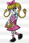 Human Skeleton,Schoolgirl,Punk,Hair Bow,Girl Power,Pigtails,Bow,Bow,Skateboard,Book,Cute,Halloween,Fashion,Human Bone,Plaid,Pink Color,Vector Cartoons,Rebellion,Striped,Catholic School,Vector Icons,Youth Culture,Illustrations And Vector Art,Funky,Intelligence,Vector Backgrounds,Uniform,Ribbon,Eyelash