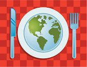 Food,Earth,Plate,Fork,Planet - Space,Map,Dinner,Lunch,Dining,Meal,Travel Locations,Food And Drink,Pattern