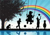 Child,Silhouette,Playground,Playing,Rainbow,Swing,Backgrounds,Vector,Happiness,Toddler,Little Boys,Little Girls,Nature,Abstract,Fun,Running,Flower,Outdoors,Butterfly - Insect,Picking,Outdoor Play Equipment,Sunset,Ilustration,Insect,Elementary Age,Preschooler,Freedom,Herb,Springtime,Lifestyle,Babies And Children,Illustrations And Vector Art,Daisy,Vector Backgrounds,Horizontal,Exhilaration