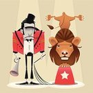 Circus,Lion - Feline,Animal Tamer,Animal,Men,Cartoon,People,Eccentric,Humor,Characters,Vector,Whip,Megaphone,Performance,Sadness,Fun,Comic Book,Pedestal,Wildlife,Color Image,Entertainment,Animals And Pets,Remote,Arts And Entertainment,Illustrations And Vector Art,Wild Animals