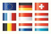 Flag,Europe,European Union Flag,Shiny,Germany,Set,Austria,Switzerland,Luxembourg - Benelux,France,Netherlands,Collection,Belgium,Cross Shape,Monaco,Vector,Star Shape,Isolated,Central Europe,White,Red,Ilustration,Isolated Objects,White Background,Colors,Blue,Yellow,Insignia,Vector Icons,Illustrations And Vector Art