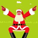 Christmas,Snow,Characters,Fun,African Descent,Green Color,Red,White,Black Color,Holidays And Celebrations,Character Traits,Humor,Cloud - Sky,Positive Emotion,Pine Tree,Concepts And Ideas,People,Christmas,Vector,Ilustration,Standing,Pointing,Cartoon,Staring