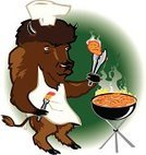 American Bison,Grilled,Barbecue Grill,Barbecue,Chicken - Bird,Chicken Wing,Chef,Vector,Cooking,Cartoon,Animal,Fire - Natural Phenomenon,Pastry Brush,Apron,Cooking,Mammals,Vector Cartoons,Illustrations And Vector Art,Food And Drink,Basted,Tongs,Horned,Animals And Pets