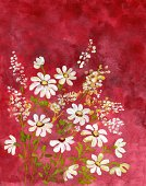 Watercolor Painting,Flower,Paintings,Textured,Painted Image,Multi Colored,Daisy,Red,White,Color Image,Petal,Flowers,Ilustration,Nature,Plant,Vertical,Vibrant Color,Flower Bunch,Arts And Entertainment,Nature Backgrounds,Leaf,Colored Background,Brush Stroke,No People,Copy Space