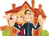 House,Family,Real Estate,Residential Structure,Happiness,Cheerful,Sold,Couple,Buying,Ilustration,Vector,Women,Real Estate Sign,Men,Smiling,Cute,Waving,Residential District,Thumbs Up,Young Adult,Lifestyles,Art,Male,Togetherness,Female,Front or Back Yard,Bush,Modern Life,People,Vector Cartoons,Concepts And Ideas,Chimney,Illustrations And Vector Art