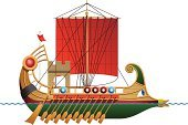 Nautical Vessel,Roman,phoenician,Greek Culture,Trireme,Warship,Shield,Wood - Material,Vector,Sailing,sailer,Boat Deck,Ilustration,Rowboat,Flag,Coat Of Arms,Oar,Illustrations And Vector Art,Portuguese Man O' War,Transportation,Mast,Isolated On White,White Background,Image,White,Red,Isolated,Clothing,Sea Transport