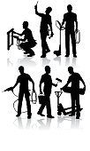Silhouette,Construction Worker,Manual Worker,Construction Industry,Occupation,Craftsperson,Working,Electrician,Building Contractor,Engineer,Men,Carpenter,Repairman,Repairing,Industry,Isolated,Isolated On White,Uniform,Industry,Construction,People,Illustrations And Vector Art,Equipment