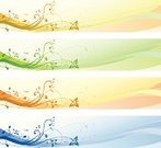 Banner,Flower,Multi Colored,Curve,Design,Design Element,Horizontal,Frame,Abstract