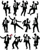 Men,Dancing,Silhouette,Jumping,Business,Suit,Dancer,Joy,Tie,Reaching,Vector,Celebration,Business Person,Victory,Success,Ecstatic,Winning,Working,Occupation,Snapping Fingers,Job - Religious Figure,Performance,Megaphone,Employment Issues,Promotion,Bullhorn,Ladder of Success,Achievement,Illustrations And Vector Art,People,Concepts And Ideas