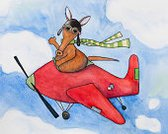 Aardvark,Ilustration,Airplane,Transportation,Pilot,Watercolor Painting,Looking At Camera,Animal,Mode of Transport,Animal Themes,Piloting,Fun,Journey,Outdoors,Horizontal,Driving,Sky,Waving,Playful,Flying,Wild Animals,Travel,No People,Painted Image,Copy Space,One Animal,Humor,Day,Paintings,Mammals,Animals And Pets,Transportation