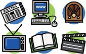 Television Set,Newspaper,The Media,Radio,Symbol,Book,Journalist,Computer Icon,Internet,Icon Set,Movie,Film Industry,Broadcasting,Mass - Unit Of Measurement,Film,Hollywood - California,Publisher,Pushing,Choosing,Vector,Single Object,Group of Objects,Ilustration,www,Clip Art,Film Slate
