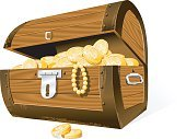 Treasure,Treasure Chest,Box - Container,Trunk,Jewelry,Gold,Coin,Gold Colored,Abundance,Unlocking,Wealth,Currency,Wood - Material,Vector,Isolated,Open,Rusty,Objects/Equipment,Household Objects/Equipment,Illustrations And Vector Art,Savings,Ilustration,Isolated On White