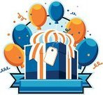 Birthday,Gift,Balloon,Birthday Present,Blue,Orange Color,Confetti,Banner,Placard,Celebration,Parties,Holidays And Celebrations,Copy Space,Blank,Illustrations And Vector Art