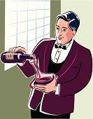 Alcohol,Wine,Pouring,Tasting,Drinking,Red,Green Color,Red Wine,Glass - Material,Jean-Louis Bianco,Ilustration,Occupation,Sommelier,Vogue 40th,Nero,Bottle,Service Occupation,Mid Adult Men,Vector,Woodcut