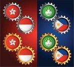 Singapore,Flag,Interface Icons,Gear,Interlocked,Circle,Symbol,Cooperation,Asia,Wheel,China - East Asia,Inspiration,Hong Kong,Philippines,Connection,Indonesia,Unity,Vector Icons,Machine Part,Attached,Illustrations And Vector Art,Shiny,Indonesian Flag,Gold,Ideas,Equipment,Macau Flag,Philippines Flag,Concepts,Silver - Metal,Energy,National Flag,Metallic,Spinning,Hong Kong Flag,Silver Colored,East Asia,Gold Colored,Motion