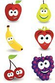 Fruit,Cartoon,Characters,Human Eye,Apple - Fruit,Food,Grape,Banana,Strawberry,Cheerful,Vector,Set,Happiness,Pear,Cherry,Ilustration,Smiling,Healthy Eating,Snack,Human Teeth,Healthy Lifestyle,Purple,Green Color,Juicy,Juice,Yellow,Collection,Leaf,Wellbeing,Food Staple,Shadow,White Background,Fruits And Vegetables,Eyebrow,Red,Stem,Food And Drink