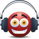Headphones,Sound,Listening,Audio Equipment,Music,Bizarre,MP3 Player,Characters,Vector,Mascot,Red,Technology,Isolated On White,Hobbies,Modern,Ilustration,White Background,Audio Electronics,Facial Expression