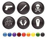 Death,Human Skull,Symbol,Human Bone,Murderer,Cross,Cross Shape,Murder,Computer Icon,Killing,Chalk Outline,Dead Person,Interface Icons,Coffin,Icon Set,Knife,Yellow,Gun,Blue,No People,Isolated On White,Circle,Forensic Science,White Background,Green Color,Ilustration,Round Button,Vector,Black Color,Digitally Generated Image,Red,Handgun,Sparse,Empty,Modern,Design,Orange Color