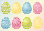 Easter,Eggs,Easter Egg,Lace - Textile,Ilustration,Holiday,Color Image,Nature,Spring,Multi Colored,Pastel Colored,Vector,Paint,Illustrations And Vector Art,Holidays And Celebrations,Easter,Decorated Eggs,Food,Season,Breakfast,Springtime