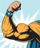 Superhero,Human Arm,Flexing Muscles,Bicep,Human Muscle,Muscular Build,Strength,Cartoon,Heroes,Human Hand,Power,Cape,Costume,Vector Cartoons,Vector Backgrounds,Illustrations And Vector Art,Star Shape