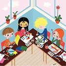 Education,School Building,Child,Classroom,Art,Preschool,Painting,Vector,Inside Of,Learning,Childhood,Teenage Girls,Teenager,Paintings,Paint,Pre-Adolescent Child,Ilustration,Variation,Scissors,Nursery,House,Studying,Multi-Ethnic Group,Paintbrush,Painted Image,School Children,Tree,Paper,Development,Friendship,Educational Subject,Ethnicity,Felt Tip Pen,Color Image,Watercolor Paints,Preschooler,Fox,Adolescence,Growth,Teenage Boys,Indoors,Table,Teenagers Only,People,Gouache,Satisfaction,Glue Stick,Lifestyle,Casual Clothing,Teens,Babies And Children,Young Adults,Copy Space,Appliqué