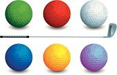 Golf,Ball,Golf Ball,Red,Sphere,Orange Color,Vector,Circle,Green Color,Sports Equipment,Sport,White,Ilustration,Single Object,Macro,Close-up,Sports And Fitness,Illustrations And Vector Art,Concepts And Ideas,Isolated