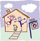 Stick Figure,House,Child,Family,Residential Structure,Cheerful,Dog,Happiness,Sign,Buying,Real Estate,Ilustration,Art,Vector,Selling,Smiling,Residential District,For Sale,Childishness,Front or Back Yard,Lifestyles,Boom,Spy,Bubble,Concepts And Ideas,Families,Illustrations And Vector Art,Lifestyle