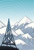 Communications Tower,Tower,Radio,Communication,Mountain,Broadcasting,Technology,Vector Backgrounds,Communications Technology,Objects/Equipment,Illustrations And Vector Art